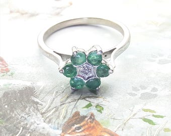 Emerald and Diamond Chip Sterling Silver Ring/Vintage Emerald Flower Ring/Free Shipping US/ May Birthstone/ Christmas/Anniversary/Valentine