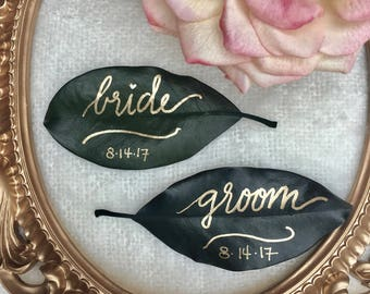 Magnolia Leaf, Custom Magnolia Leaf, Magnolia Place Cards, Gold Ink Calligraphy, Magnolia Leaves, Leaf Place Cards, Gold Place Cards, Custom