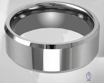 Classic Men's Platinum Tungsten Comfort Fit Wedding Ring | Basic Mirror Polished Modern Minimalist Wedding Band With Striking Beveled Edge.