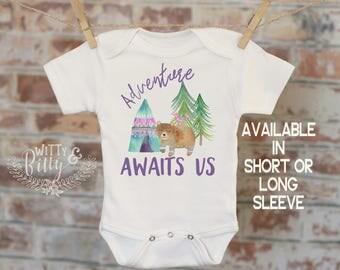 Adventure Awaits Us Onesie®, Woodland Animals Onesie, Bohemian Onesie, Cute Baby Bodysuit, Cute Onesie, Boho Baby Onesie, Girl Onesie - 172A