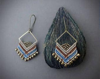 macrame beaded earrings, Miyuki beads, glass seed beads, brass square