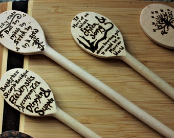 If more of us valued food and cheer and song above hoarded gold Hobbiton inspired Wooden Spoon-  JRRT, wedding gift, Housewarming gift, geek