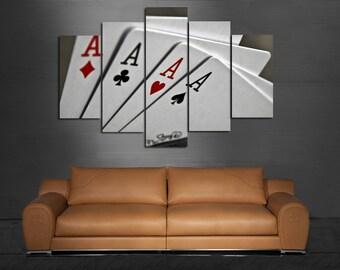 Poker Large Wall Poker Canvas Poker Print Poker Wall Art Royal Flush Poker Poster Cards Royal Flush Wall Art Poker Decor Game Room Decor