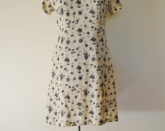 90s vintage cream and black floral sun dress mini dress M L