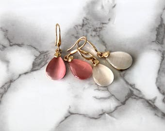 Cool Teardrop Shape Drop Earrings, Clear Moonstone Earrings, Pink Opal Crystal Jewelry, Rose Jewelry, Cute Romantic Gifts, Wedding Jewelry
