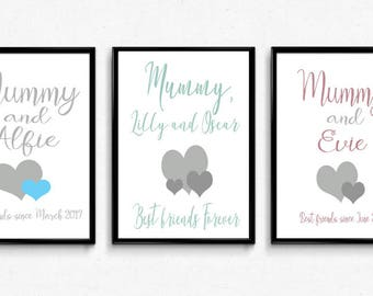 Personalised Mummy and me gift print