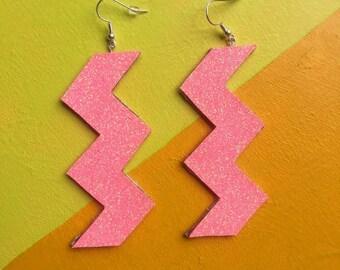 Glitter Zig Zag Statement Earrings in PEACH