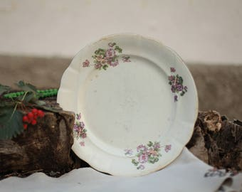 Soviet Vintage Tableware,big dish, Old Russian Porcelain Plates with Flower. Made in USSR, Collectible.