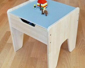 Lego Duplo Compatible Wooden Children Play Table Storage Box Organizer Kids  Room