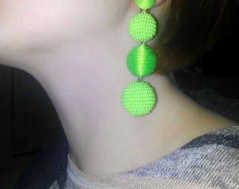 Light green color/Ball drop earrings/Clip/Stud beads/Dangle Earrings/three balls/clip on earrings/Bon Bon Earrings