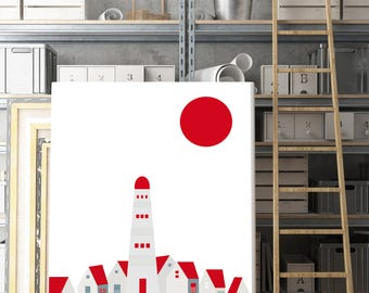Lamina Faro, Lamina decorativa, Cuadros modernos, laminas nordicas, Impresión digital