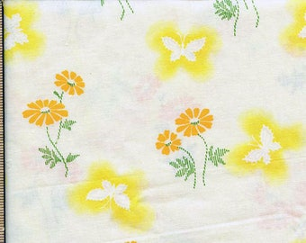 Vintage Floral with scattered orange daisy and yellow butterflies on pale yellow background Cotton blend dress crafts quilting
