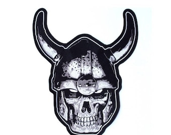"""xl VIKING SKULL WARRIOR Back Patch Motorcycle Jacket Vest Iron On Large 12"""""""