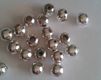 40 silver metal beads - 6mm