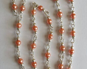 55cm of string/salmon glass Pearl 4mm beads