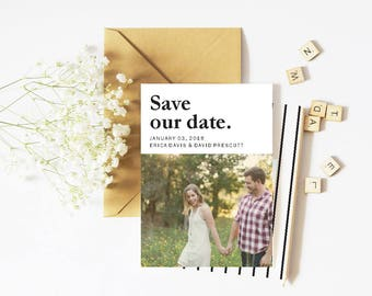 Printable Save The Date, Custom Photo Save the Date, Wedding Announcement, Simple Save the Date, Personalized Save The Date