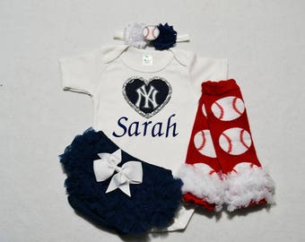 new york yankees baby girl outfit - baby girl yankees outfit - girls yankees baseball outfit - yankees baby girl gift - yankees baseball