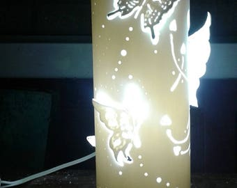 Lamp hand carved on PVC reason butterflies 001