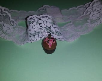 lolita lace pink cupcake necklace