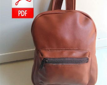 Leather Backpack - Leather PDF Patterns to Make this Small Leather Backpacks, Digital Download