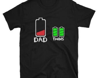 Funny Dad Twins Shirt, Battery Charge Joke T-Shirt, Father of Twins Gift Idea, Twin Daddy Tee, Gifts for Him, Novelty Gag Humor Jokes Tees
