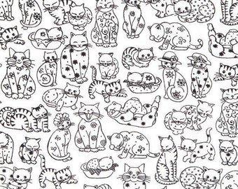 Cat Quilt Fabric, 100% Cotton, Cat Fabric, Kitten Fabric, Cotton Fabric by the Yard, Black and White Cotton, Cotton Material, Printed Cotton