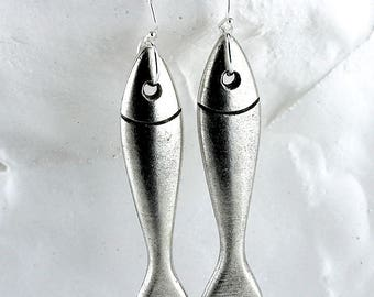 Large Pewter Fish Earrings