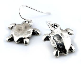 Silver Turtle Drop Earrings Sterling Silver Dangly Earrings