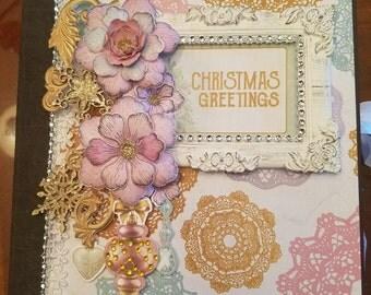 """Christmas Greetings Mini Album 8"""" x 8"""" Handmade"""
