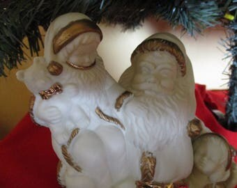 Santa Claus Candle Holder Set