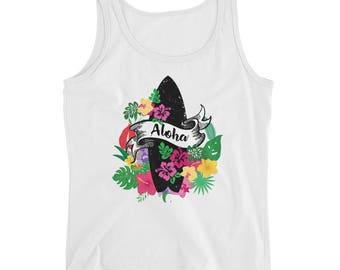 Aloha Summer Surfboard Pink and green floral graphic T-shirt, Hawaiian Luau Tee shirts