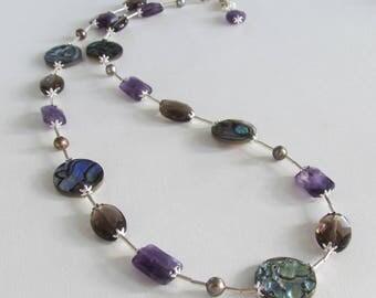 Handmade Gemstone Necklace Paua Abalone Shell Amethyst Smoky Quartz Freshwater Pearls Sterling Silver