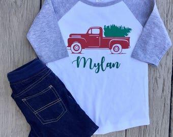 Boys Christmas Truck Shirt