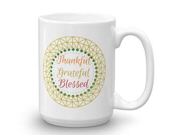 Thankful Grateful Blessed Medallion Mug