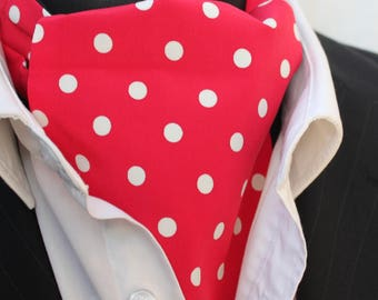 Cravat Ascot. 100% Silk Front. UK Made. Red Polka Dot Silk + matching hanky.