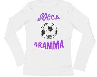 Soccer Socca Gramma Distressed All Cotton Tee Shirt Ladies' Long Sleeve T-Shirt