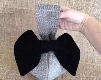 Vintage Style 1940s Dance Purse Gray Purse With Velvet Black Bow Handbag For Women