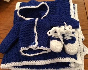 Blue Hooded Sweater Set- newborn size 0-3 mo.
