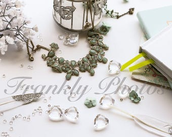 Instagram Square / Green & Silver Lifestyle Stock Image / Styled Stock Photography / Stock Photo / Flatlay / Frankly Photos File #6sq