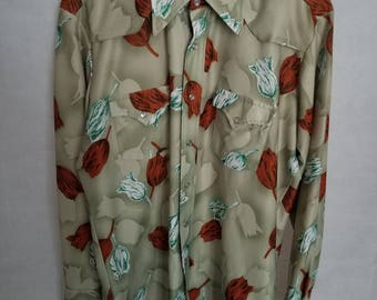 Men's 1950s H Bar C Ranchwear Sage Green, with Tulips, Rockabilly Western Shirt Size L