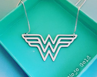 Wonder Woman/ Solid .925 Sterling Silver/Super Hero Pendant & Chain/Sterling Silver Box Chain/Phoenix Pendant/Falcon/Chain/Christmas Gift