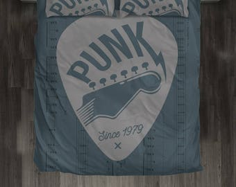 Punk Pleck Bed Set. Guitar Player Gift.