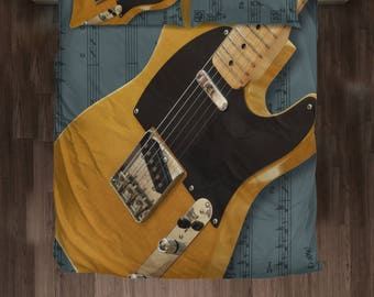 Vintage Fender Telecaster Bed Set. Guitar Player Gift.