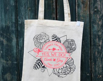 """Pack 10 Totebags Wedding personnalisables """"Totally Hipster"""" à offrir à vos invités / EVJF/ famille / souvenir - Handprinted in France"""