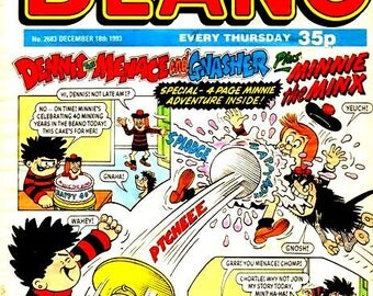 Set of 2 fridge magnets 7.5 cm x 4.5 cm Dandy And Beano Comic Covers