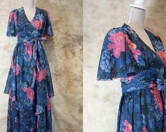 70s Floral Boho Dress, Vintage Floral Print, Summer Dress Hippie, Evening Dress 1970, Wedding Guest Dress, Size M, Meidum, Festival Dress
