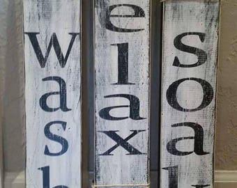 Wash Relax Soak Sign Set - Rustic Decor - Farmhouse Decor - Country Decor  - Bathroom - Wood Sign -  Bathroom Sign - Rustic Wood Sign