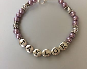 Personalized Pearl Baby/Children's Bracelet