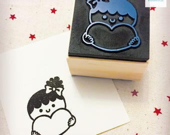 Hand Carved Girl with Love Heart Rubber Stamp