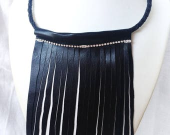 fringed necklace, necklace strass, stones necklace, rhinestone necklace leather necklace, black necklace, choker necklace, choker.